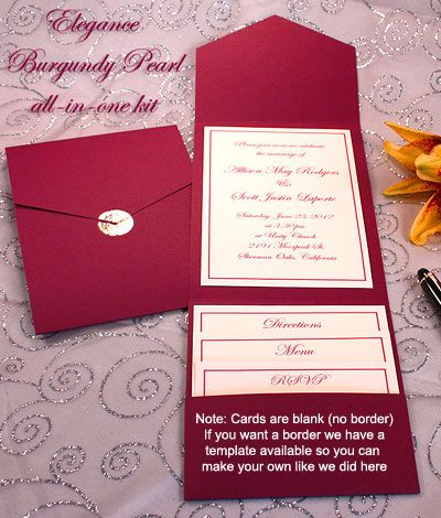 Print Your Own Burgundy Wedding Invitations Pocket Printable Invitation Kits