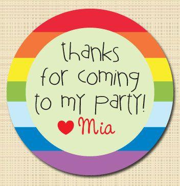 Personalized birthday stickers rainbow round sticker birthday favor stickers party favors treat