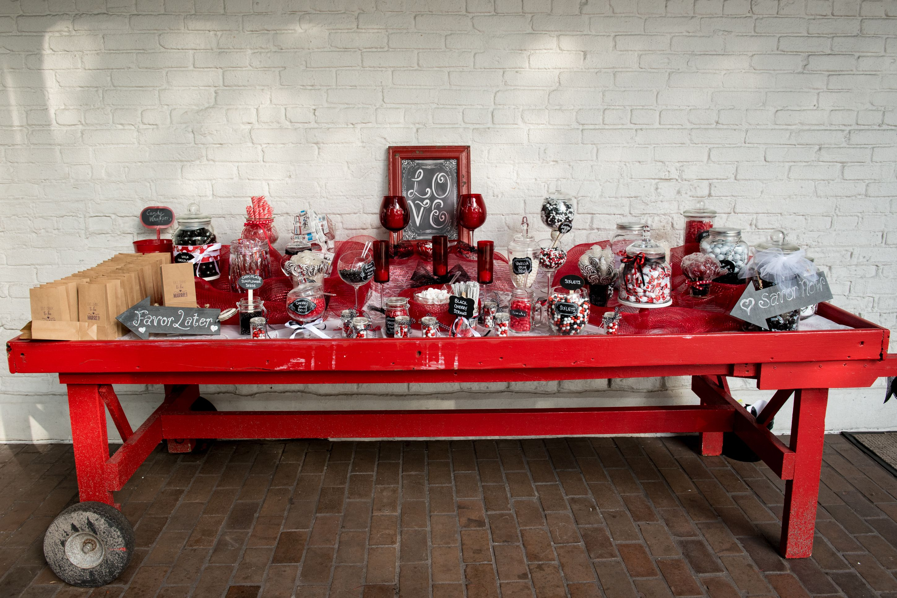 Wedding decorations red  Red u White Candy Bar at Ybor City Museum State Park