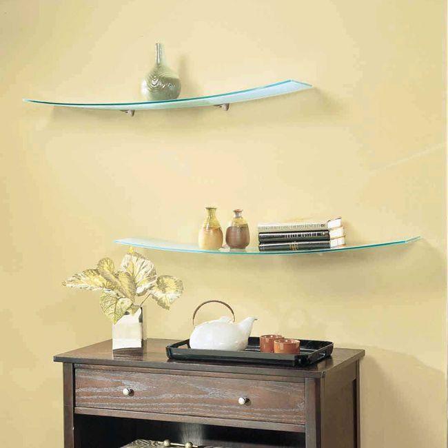 Concavo Opaque Curved Glass Shelf 8x40 Floating glass
