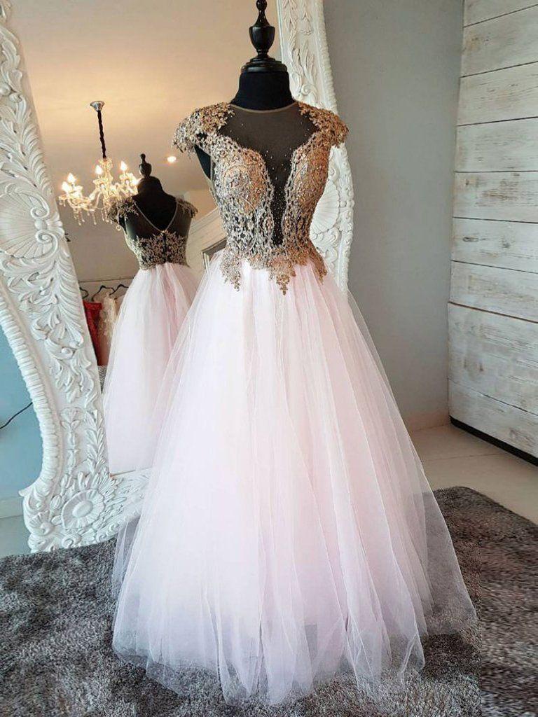 White scoop prom dresses unique prom dress with applique long