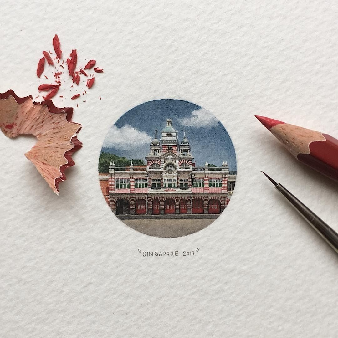 Central Fire Station. Tiny Miniature Mixed Media Animals and Architecture. By Lorraine Loots.