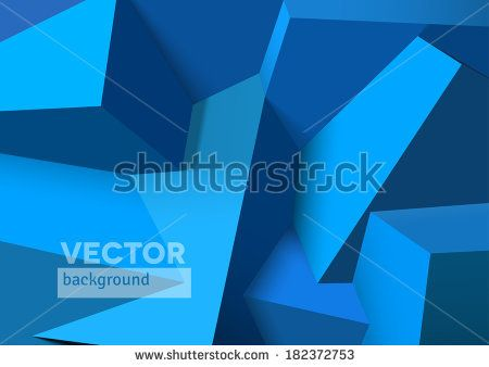 Abstract background with realistic 3D overlapping blue cubes - stock vector