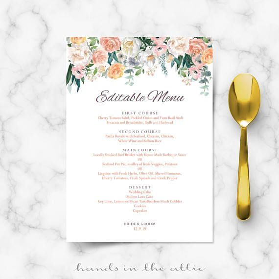Wedding Buffet Menu Cards Floral Diy Template Wedding Dinner Menu