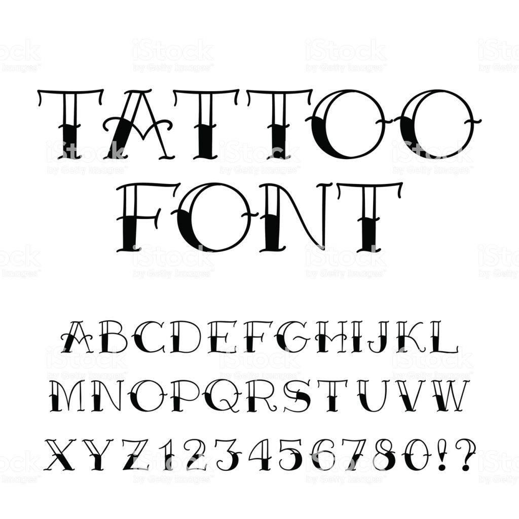 Tattoo Font Vintage Style Alphabet Letters And Numbers On White In 2020 Tattoo Font Lettering Alphabet Number Tattoo Fonts
