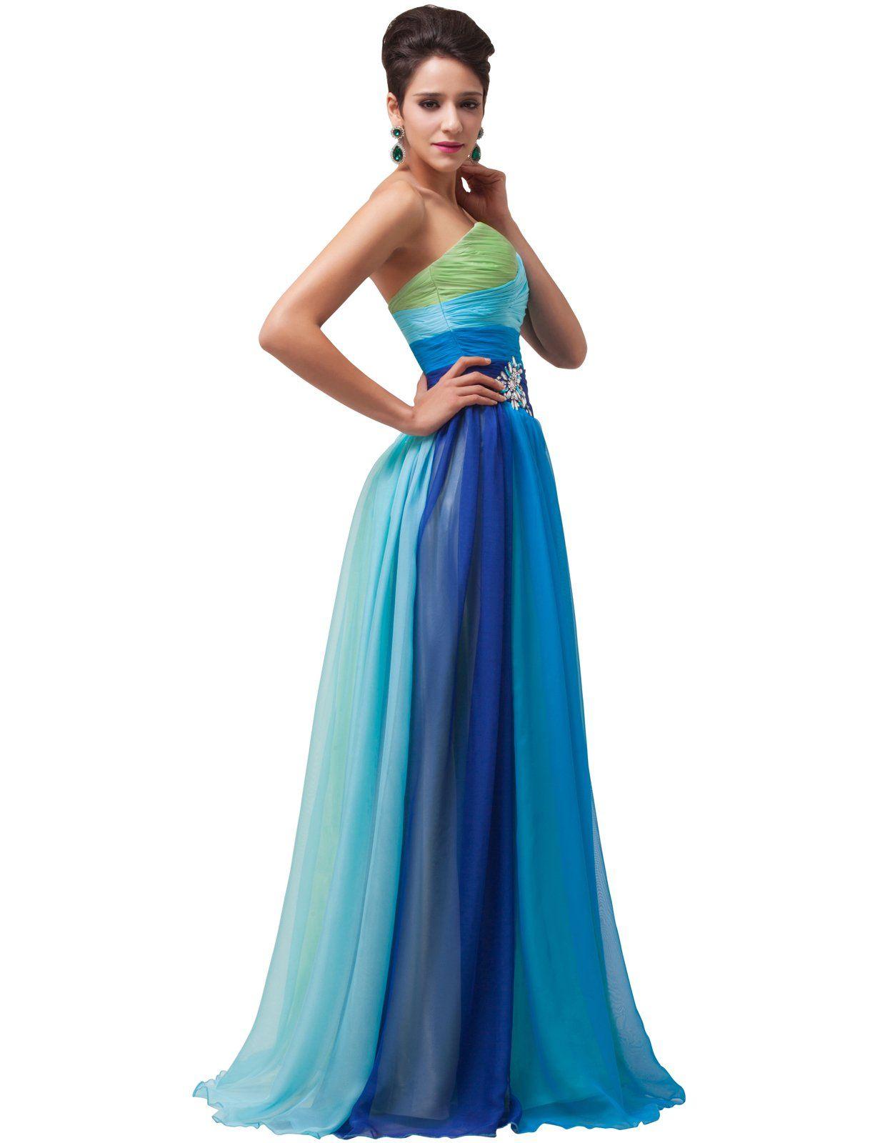 Grace Karin® Women Blue Strapless Empire Chiffon Long Evening ...