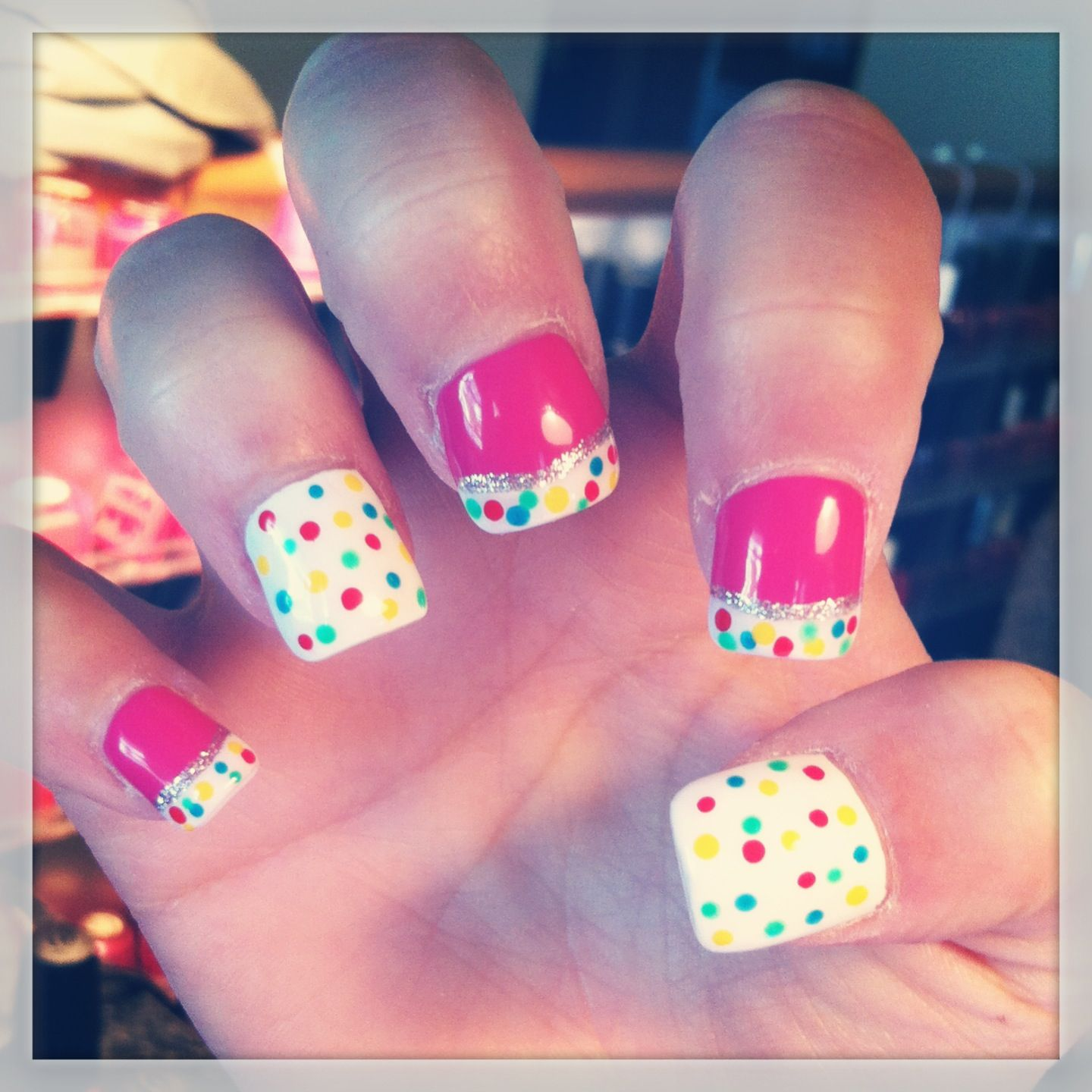 Summertime fun. Absolutely fab! Pink. White. Multicolor dots ...
