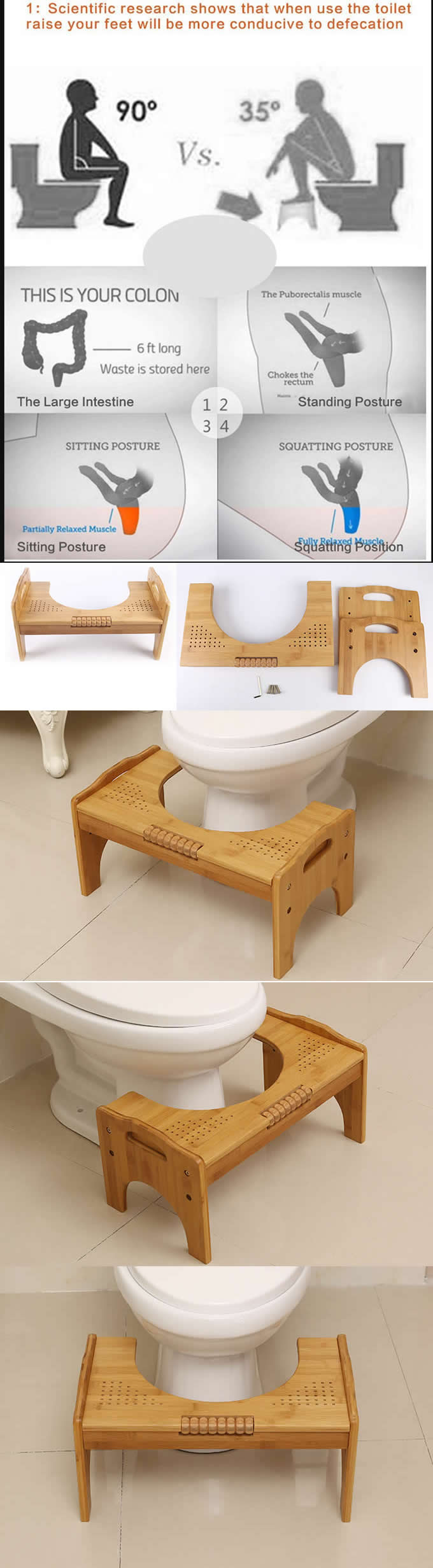 Adjustable Bamboo Toilet Stool Built In Foot Massager Helps You Create A Healthy Toilet Posture And Easier Elimination This Squa Toiletten Inkontinenz Wohnen