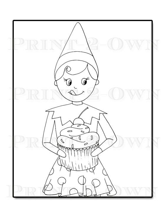 Elf on the Shelf Christmas Coloring Sheets 7 Pages by Print2Own ...