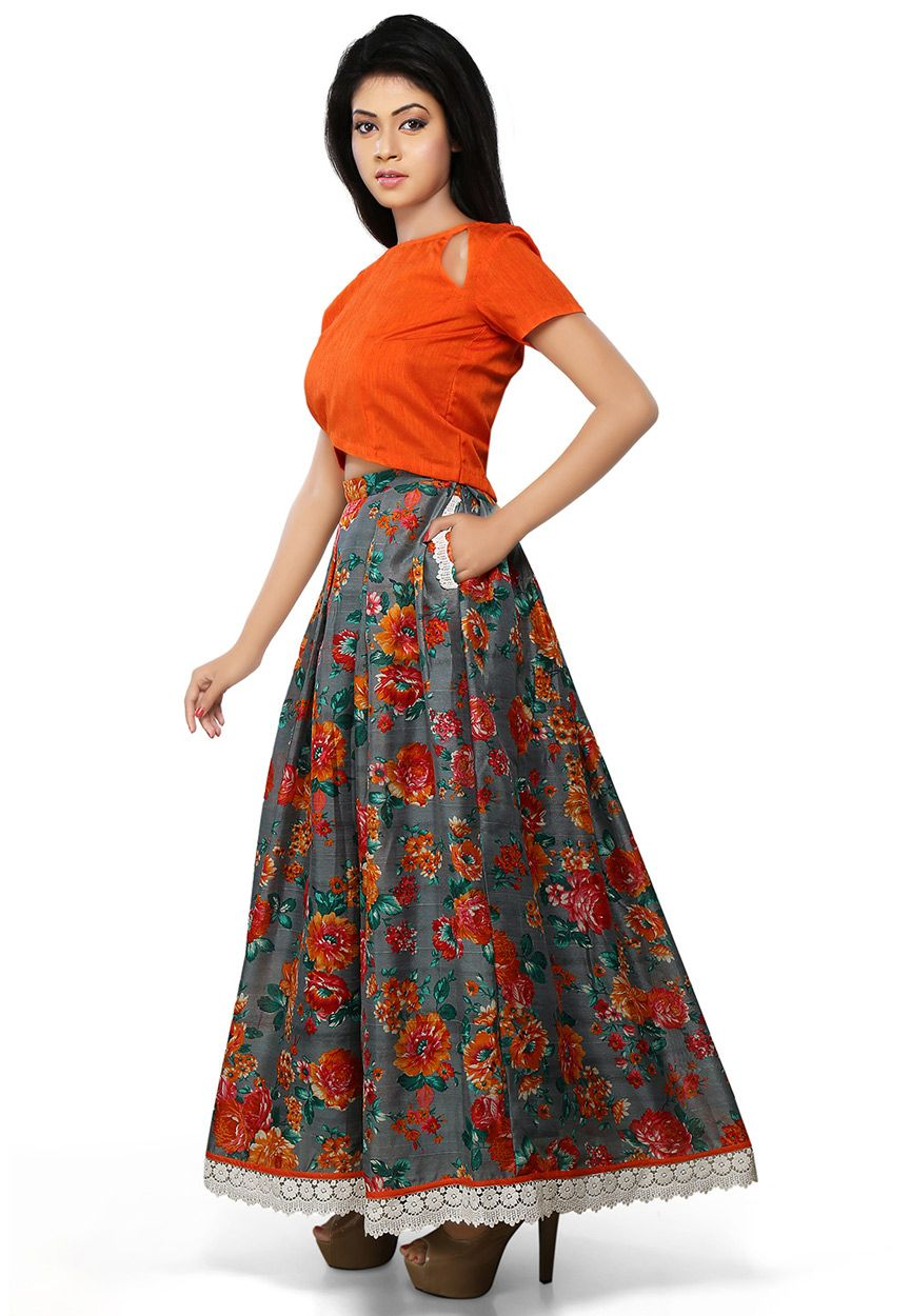 Buy Grey and Orange Poly Raw Silk Readymade Long Skirt online ...