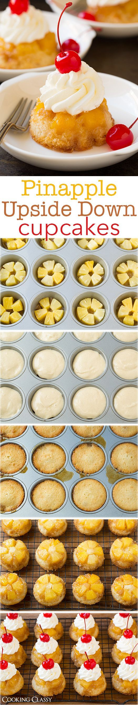 Pineapple Upside Down Cupcakes - just like that classic cake your grandma made but in cupcake form! Loved them so much I'm making them again tomorrow!