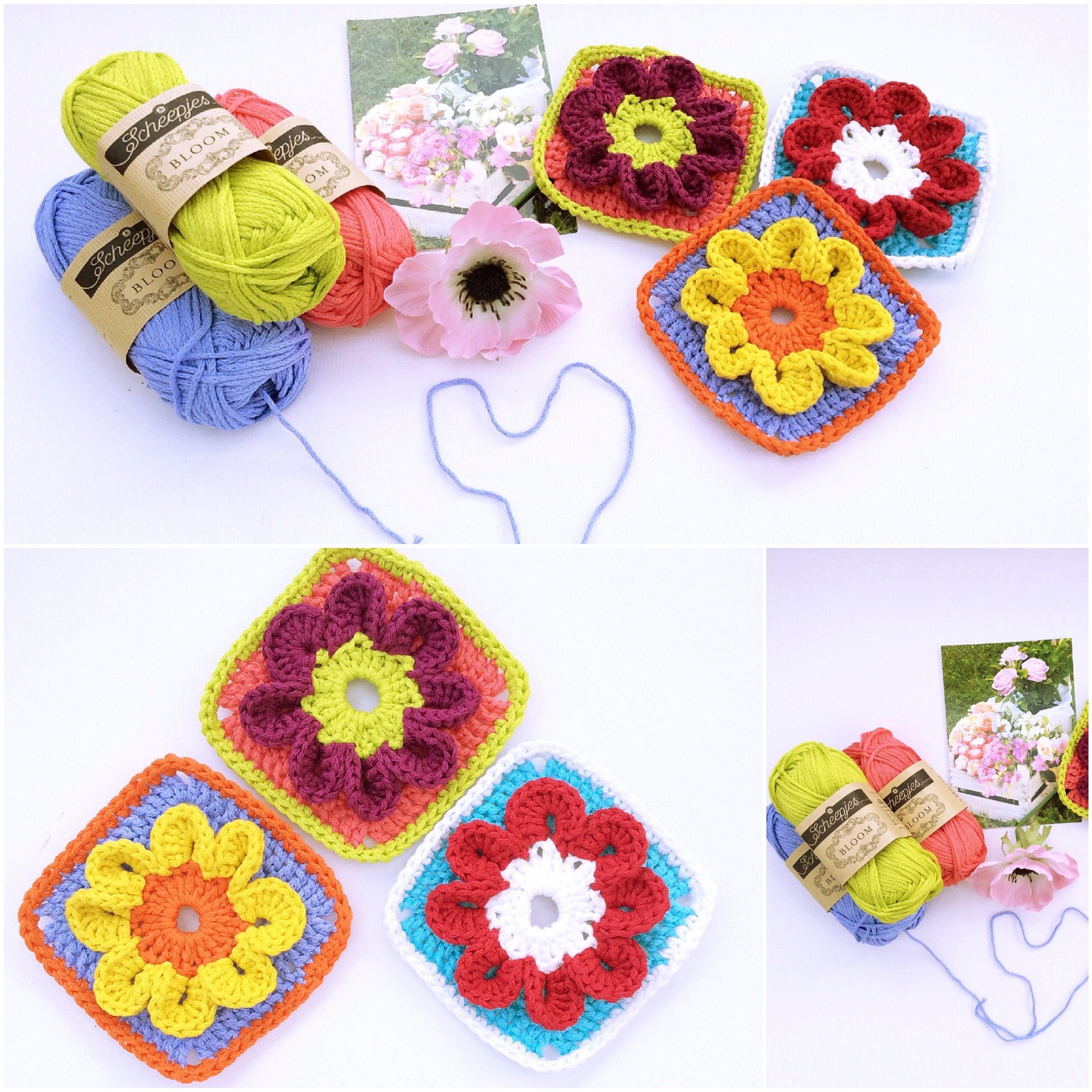 Bloom Crochet Square Free Pattern via www.madewithloops.co.uk