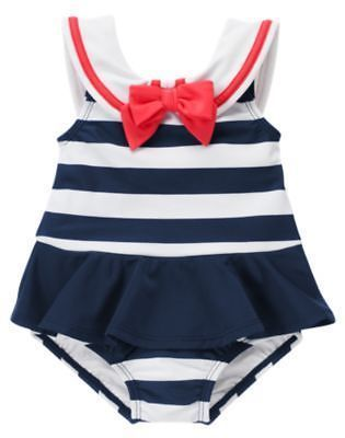 b5d392bcdb3c2 NWT Gymboree Blooming Nautical Sailor Bathing Suit Swim Baby Toddler Girl  size 4