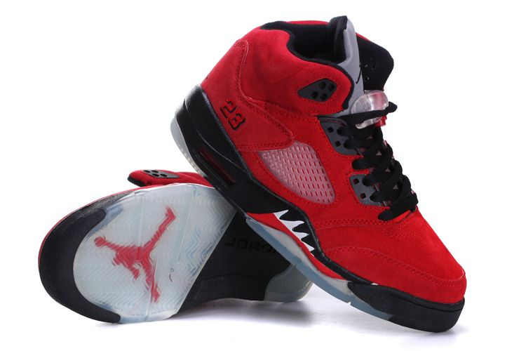 66aa3ef1671bfa Air Jordan 5 Suede Red Black For Women