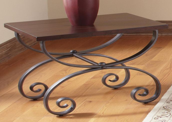 Scrolled Metal And Wood Coffee Table Hallway Decor