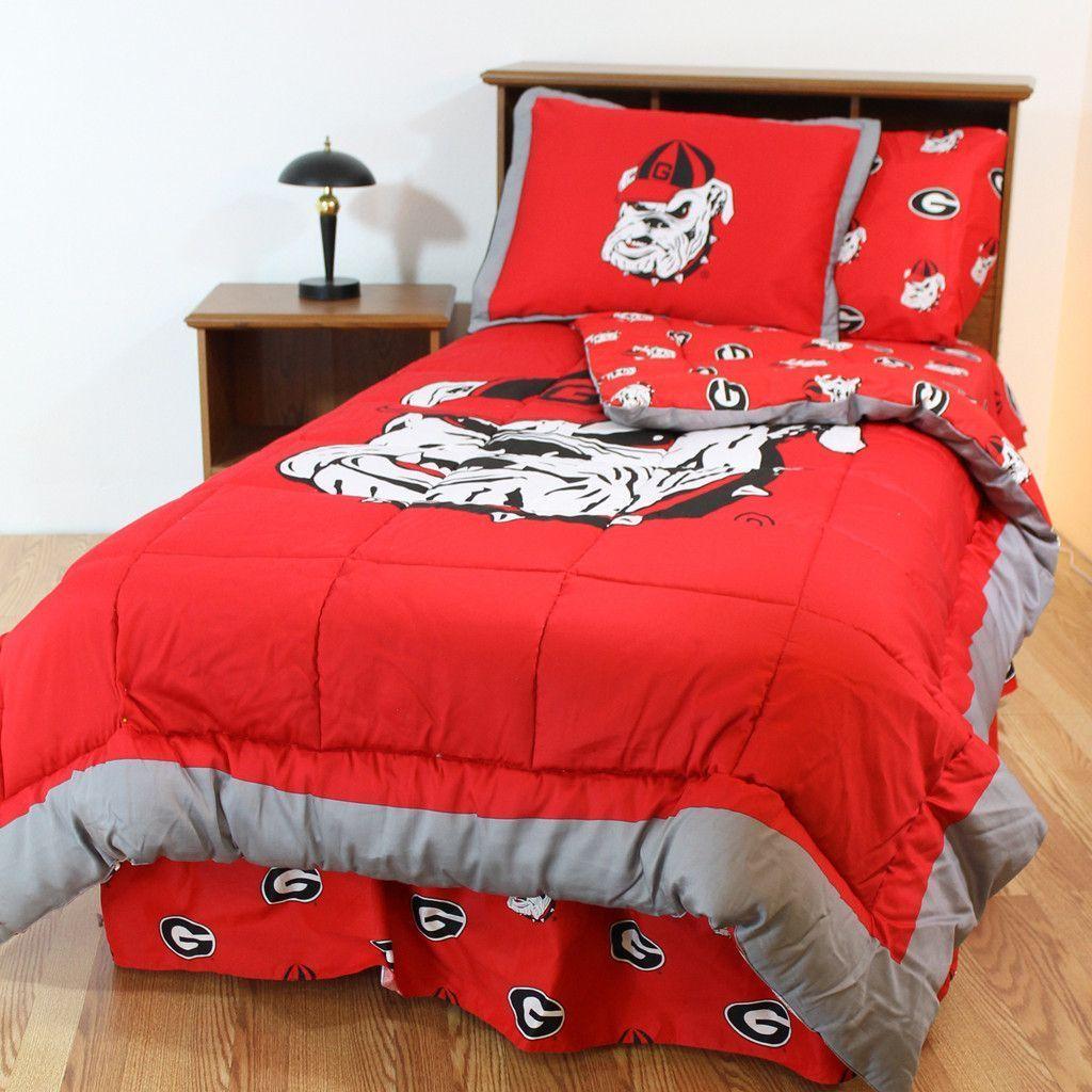 Georgia Bulldogs UGA Cotton Sateen Bed Sheet Set King-Color
