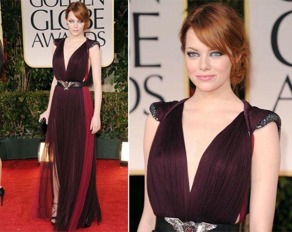Emma Stone fuchsia and burgundy gown