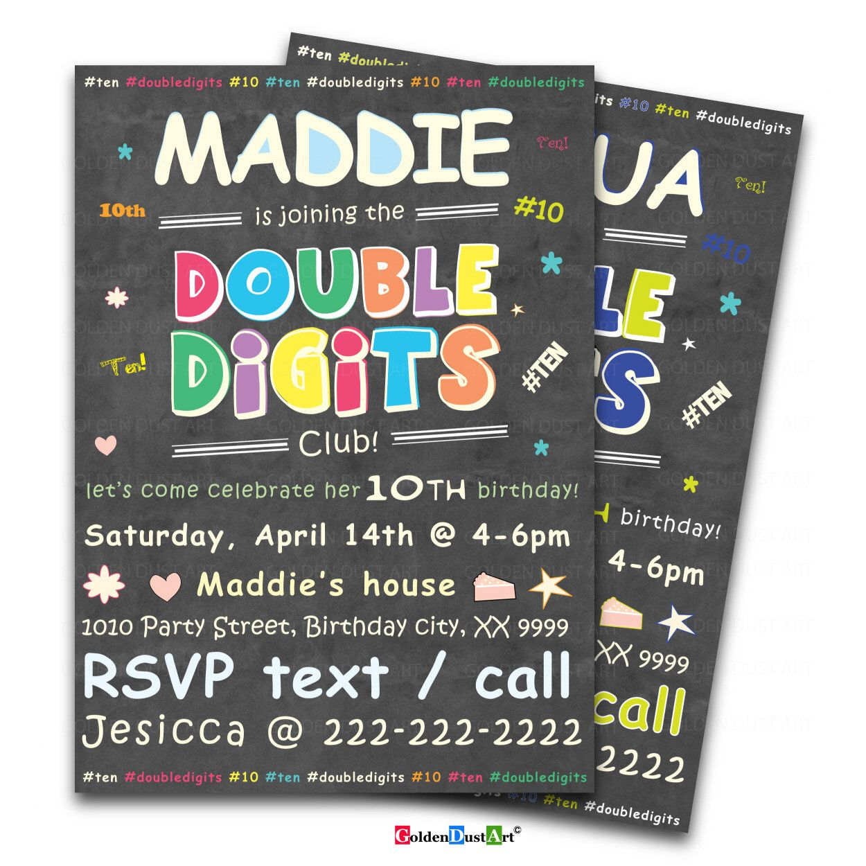 Excited To Share This Item From My Etsy Shop Double Digits Birthday Party Invitation 10th Invite Chalkboard Happy