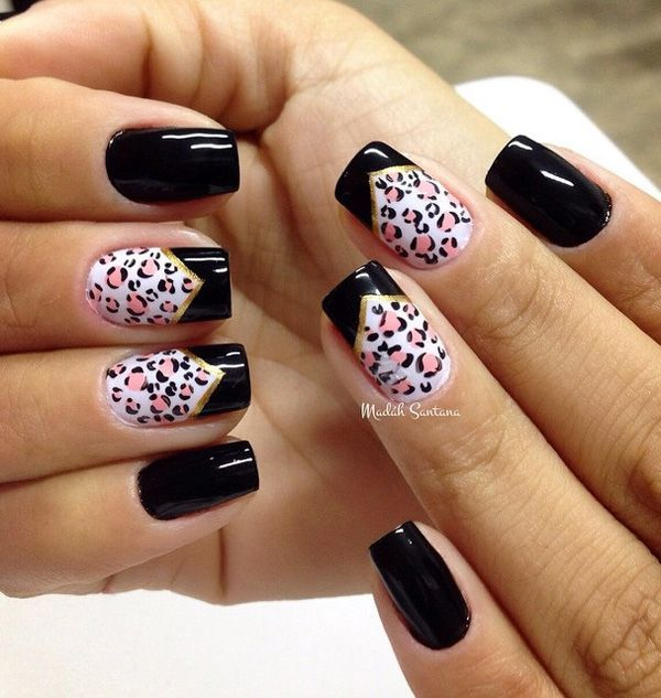 Black and white leopard nail art design with pink leopard prints. A cute  and also - Black And White Leopard Nail Art Design With Pink Leopard Prints. A