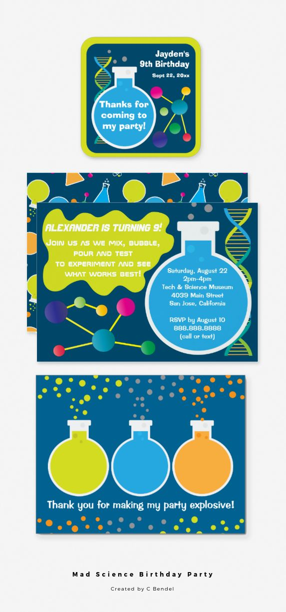 Mad Science Birthday Party Invitations, Favor Stickers and Thank You ...