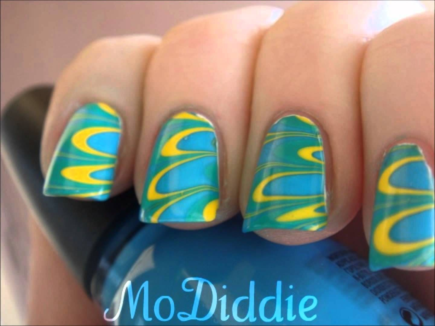 BRIGHT WATER MARBLE NAIL ART TUTORIAL IN HD | Such a tutorial nerd ...