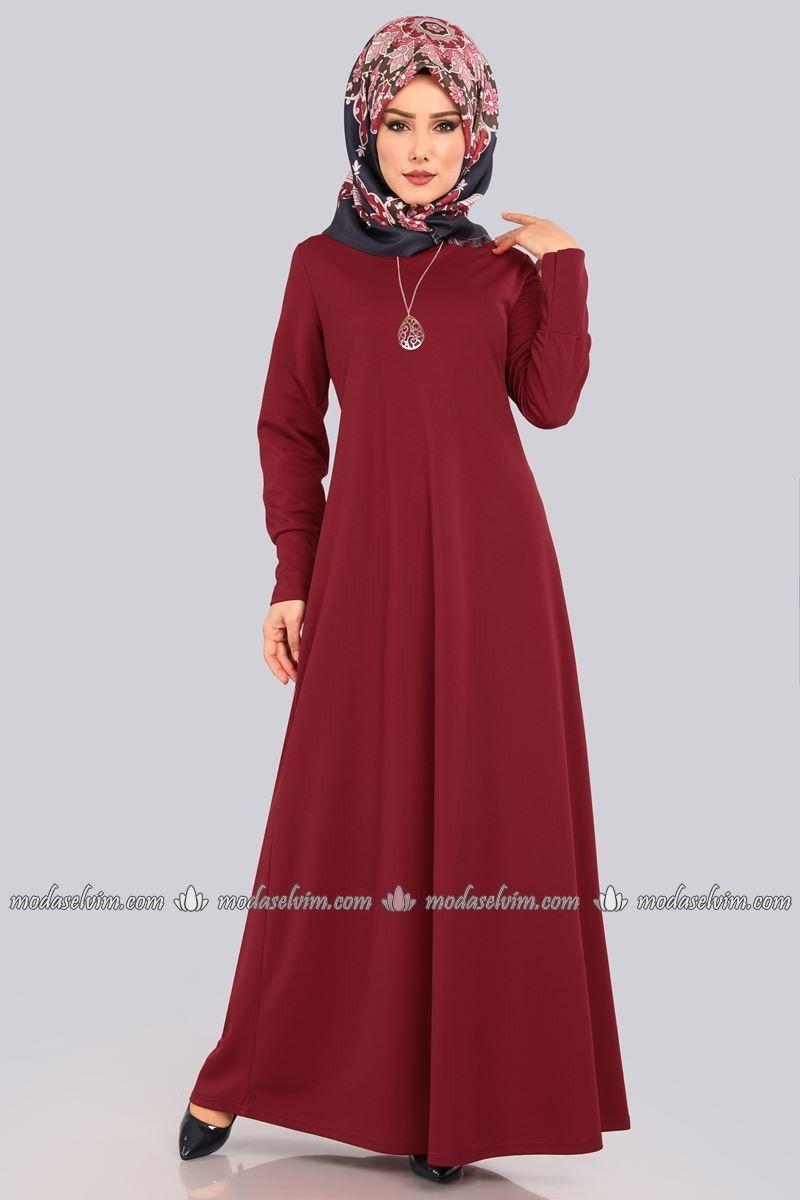 Kolyeli Boydan Tesettur Elbise Edf4107 Bordo Elbise Modelleri Elbise Moda Stilleri