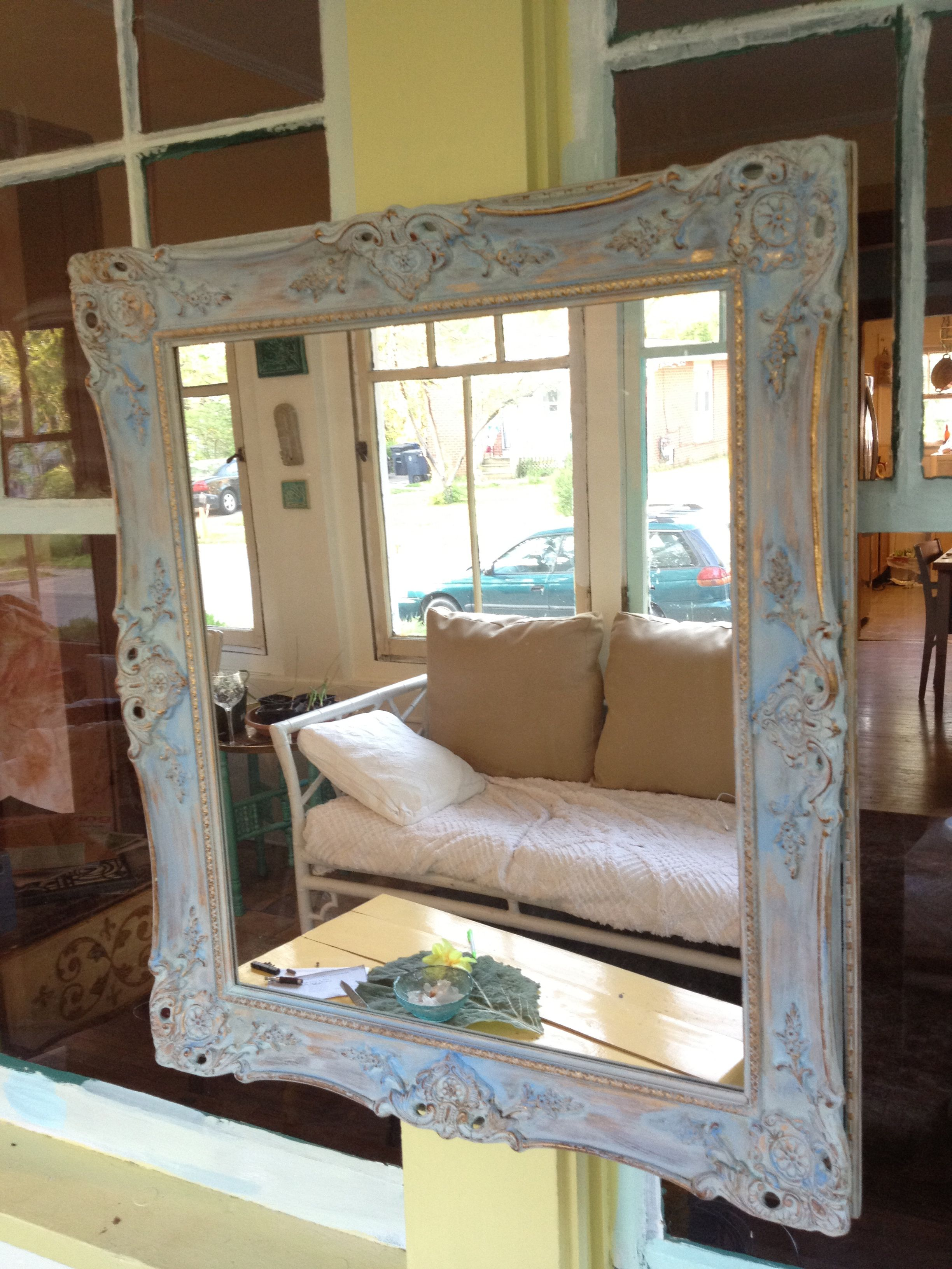 Pin By Amy O Shields On Paint Me Age Me And Sell Me Annie Sloan Painted Furniture Chalk Paint Mirror Frames Mirror Painting