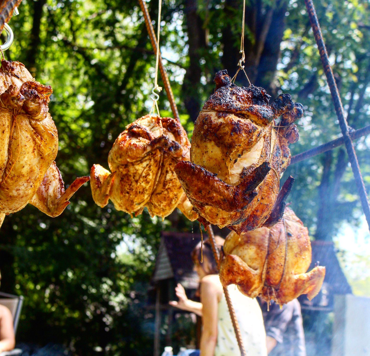 How to hang chicken over open fire with images fire