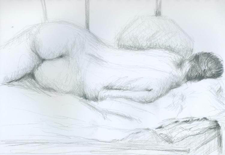 Aktstudie Schlafend Zeichnungen 21x29 Cm C 2006 Von Ralf