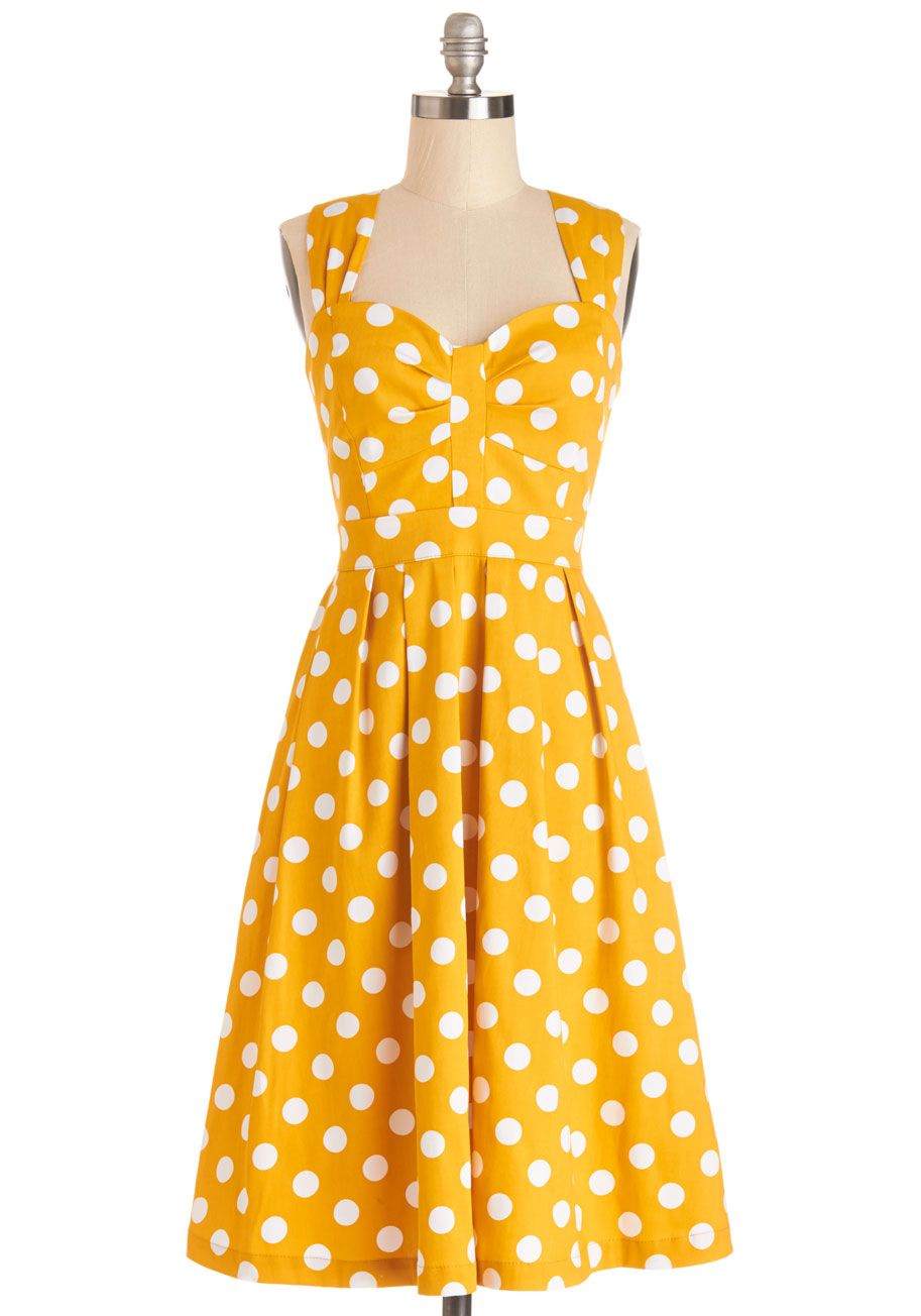 And Many More Dress. The cake's candles cast a glow on the honey hue, sweetheart neckline, and pleated bust of this Myrtlewood polka-dot dress - a ModCloth exclusive. #yellow #modcloth