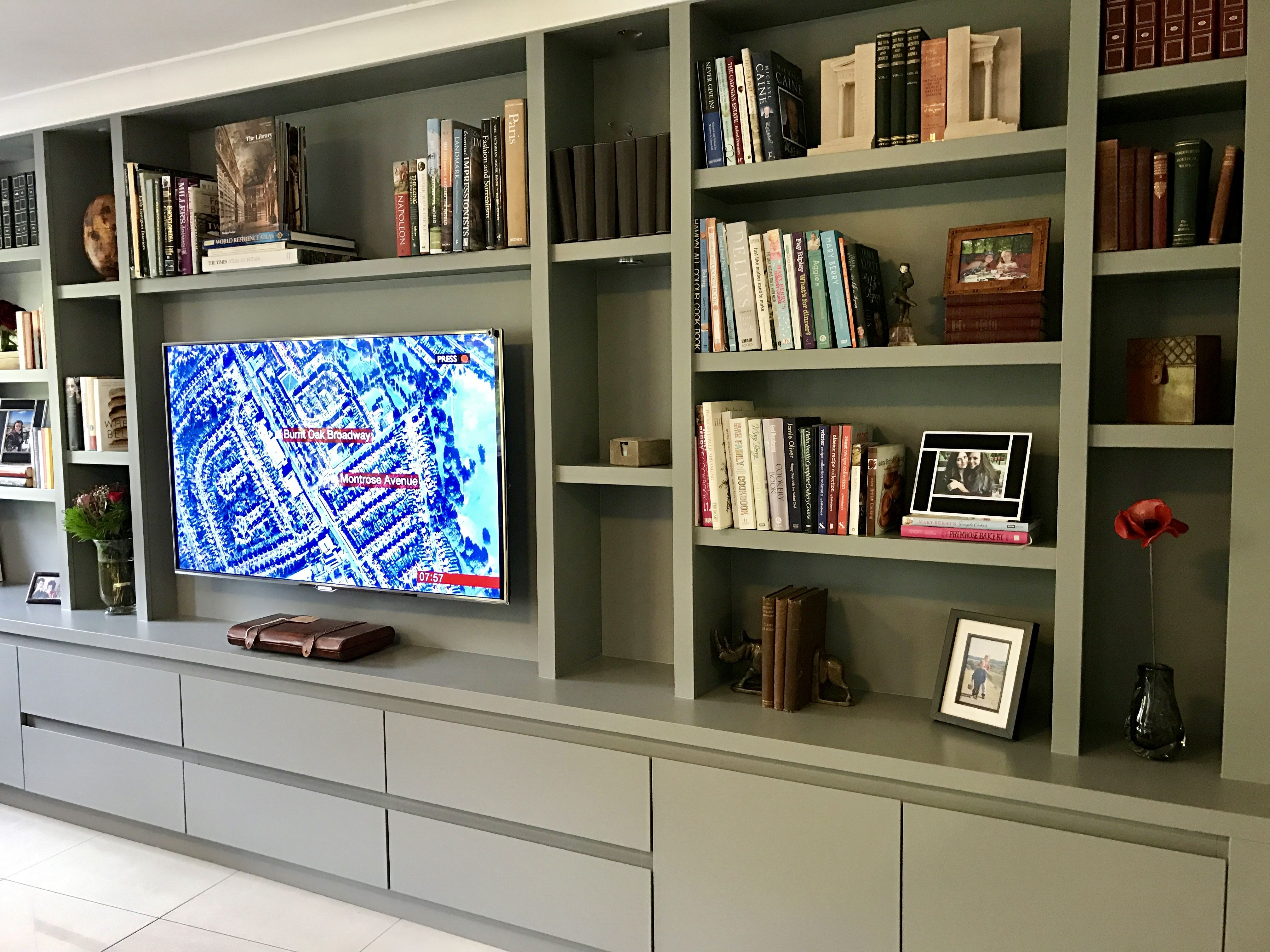 Wall To Storage For Tv With Sky And Digital Equipment D In Cupboards Below