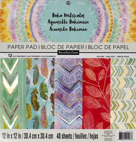 Boho Watercolor Paper Pad By Recollections 12 X 12