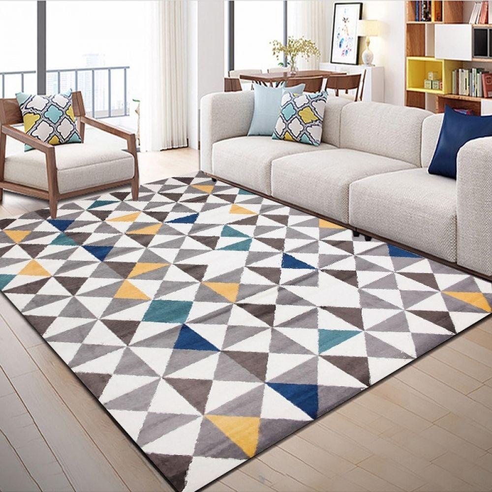Nordic Geometric Carpet Livingroom Bedroom Crystal Velvet Hallway Rugs Large Size Carpet Kids Room Soft Sofa Tapete Customized Living Room Carpet Geometric Carpet Textured Carpet