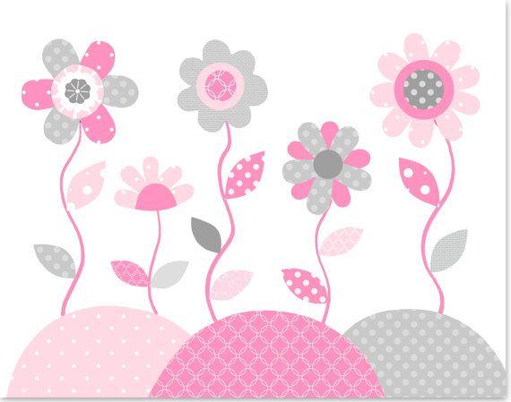 Flores impresi n beb ni a flor decoraci n beb sala arte - Decoracion bebe nina ...