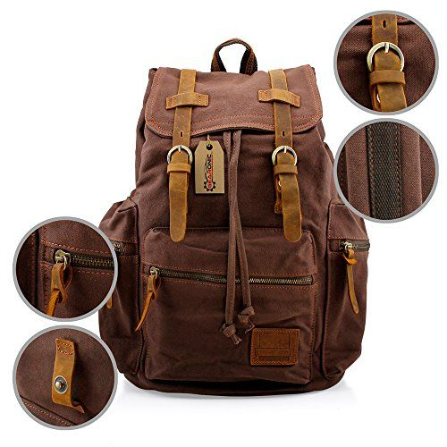 831e8eff020 GEARONIC TM Mens Vintage Canvas Leather Tote Satchel School Military  Shoulder Messenger Sling Drawstring Rucksack Crossbody Hiking Bag Backpack  For Toiletry ...