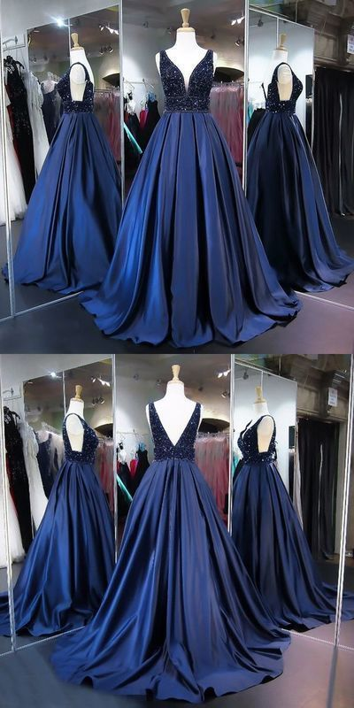 A-Line V-Neck Sweep Train Blue Satin Prom Dress with Beading