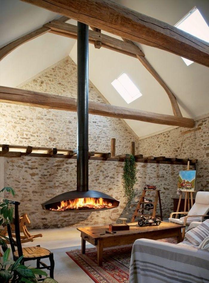 Moderne Kaminöfen Hängender Kamin Wohnzimmer Steinwand Teppich ... Moderne Wohnzimmer Pflanzen