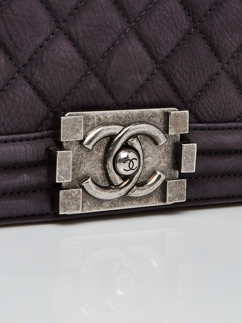 8c23f393bbd Chanel Grey Quilted Nubuck Leather Medium Boy Bag in 2018   Chanel ...