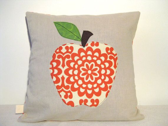 Red apple cushion cover,  free motion applique, linen, by tailorbirds on etsy, €25.00