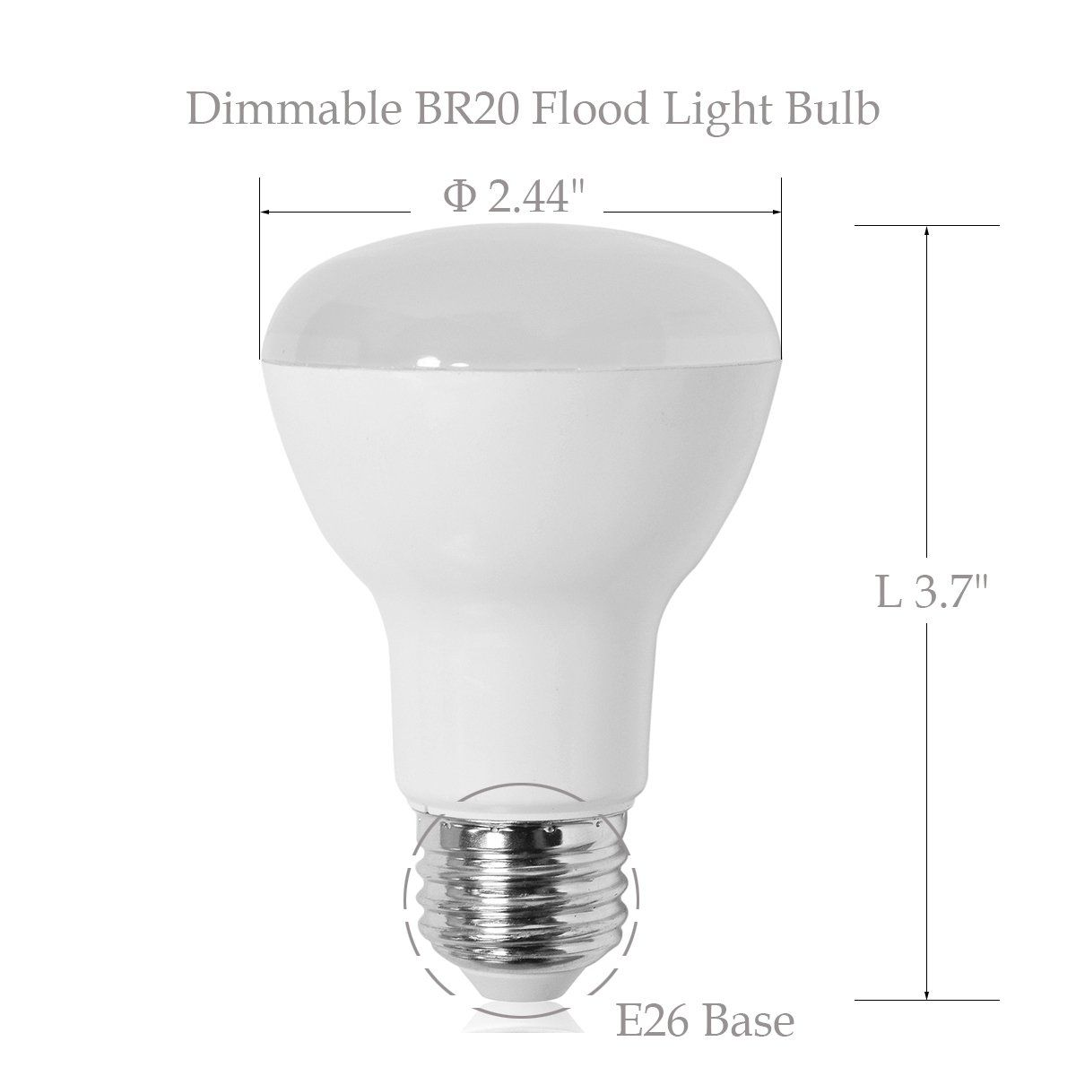 4pack Br20 Wide Flood Light Bulbd 2 44l 3 7 120a Beam Angle7w 50 Watt Equivalent Daylight 5000k525 Lumens E26 Medium Base Dimmabl In 2020 Flood Lights Light Bulb Bulb