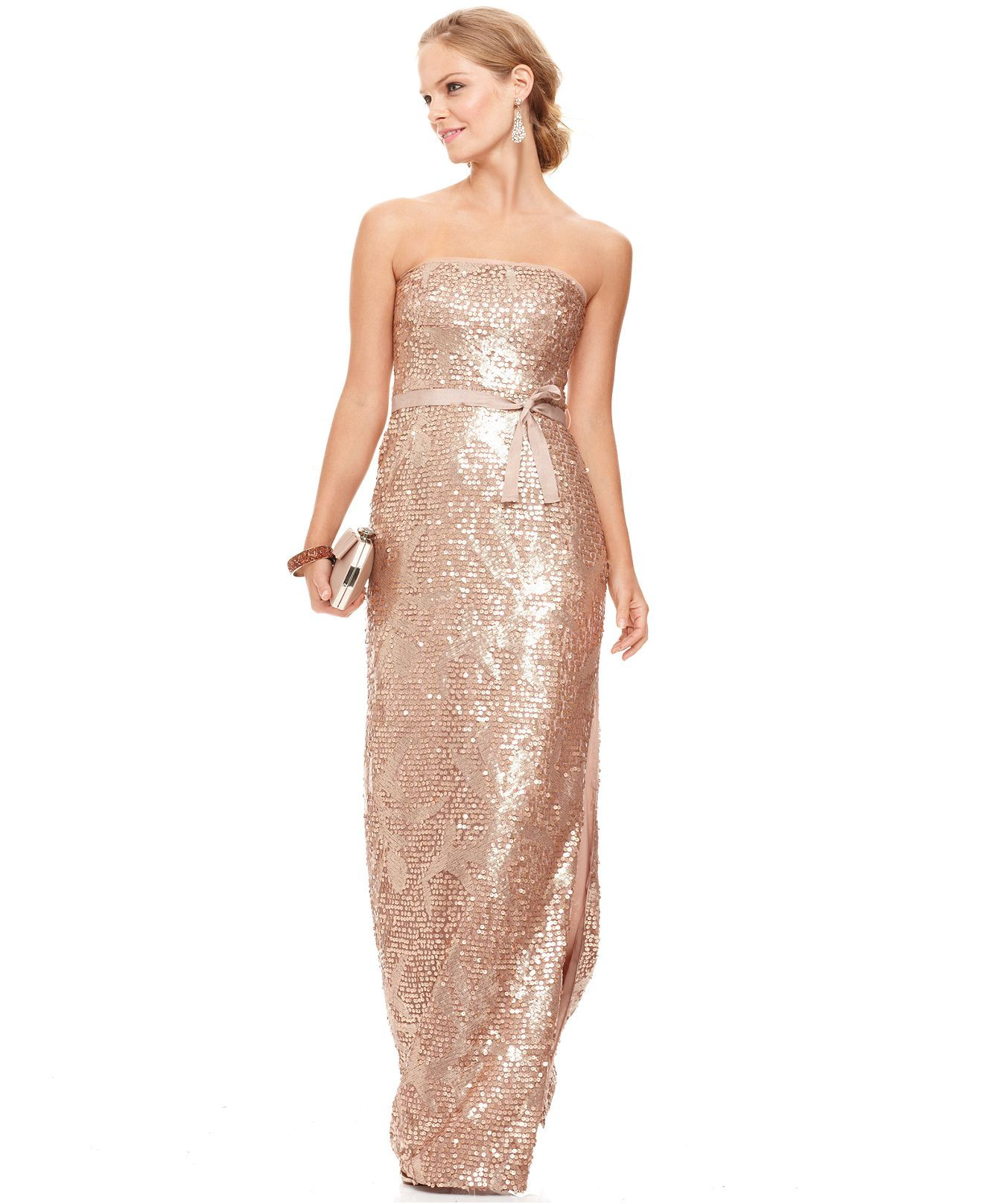 BCBGMAXAZRIA Dress, Strapless Sequined Belted Gown - Womens
