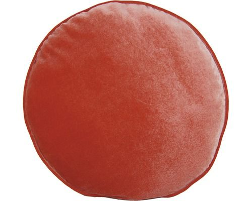Farbe Coral edles samtkissen rundes kissen in der farbe coral mit samtoptik