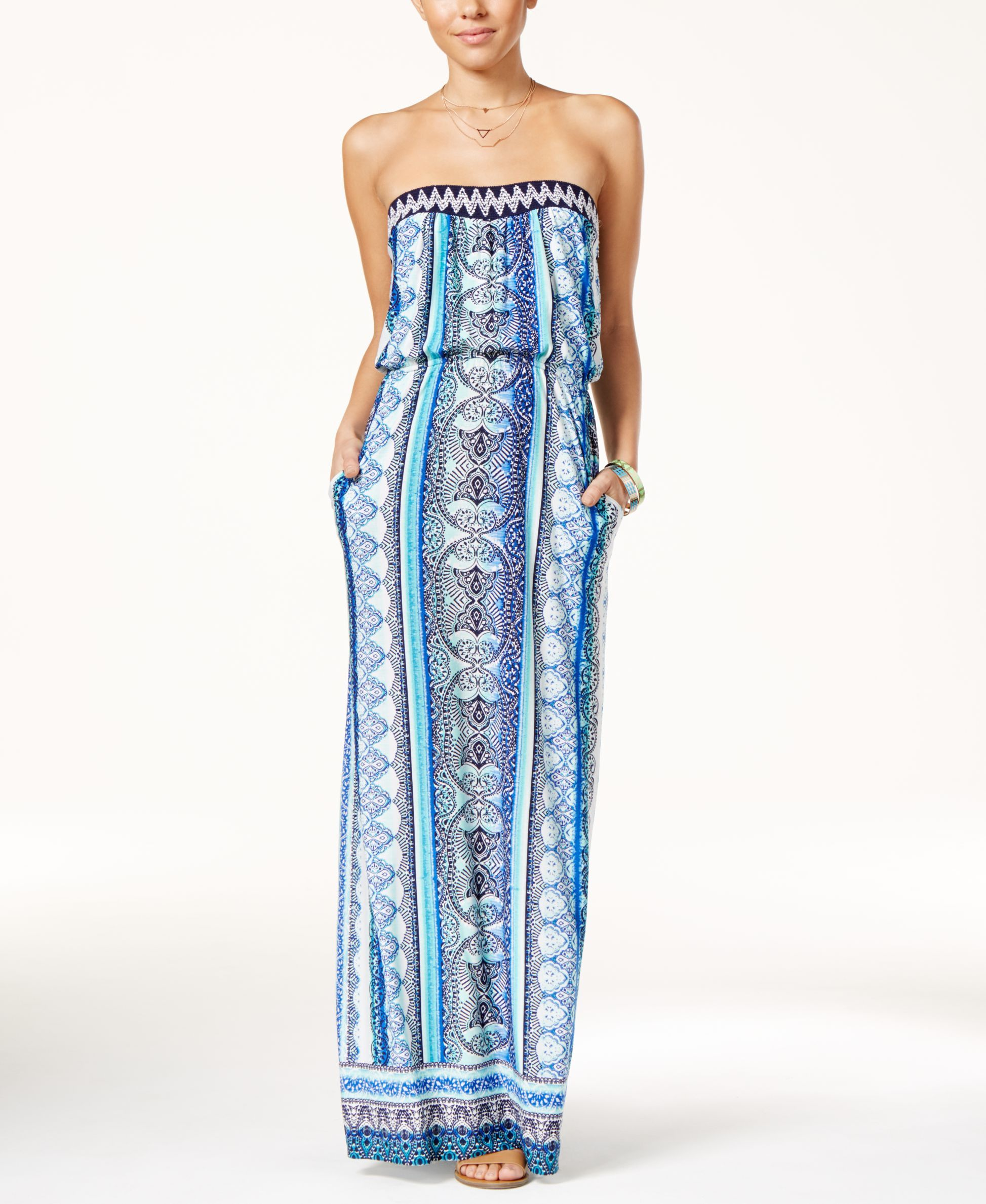 Trixxi Juniors' Printed Strapless Maxi Dress