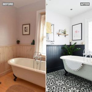 before and after: from tired unloved bathroom to dramatic