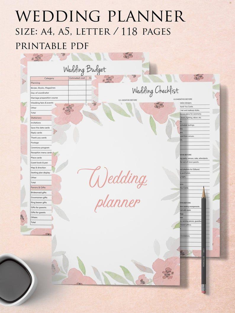 Wedding Planner Binder Wedding Planning Book Engagement Gift Etsy In 2020 Wedding Planning Book Wedding Planner Printables Wedding Planning Binder