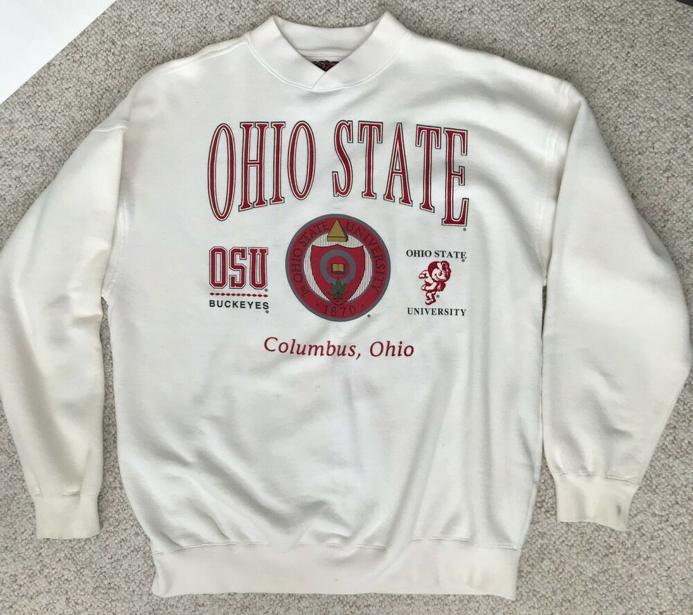 Vtg Ohio State Buckeyes Sweatshirt Off White Osu University Seal Crew Mens L Xl Gssport Ohiostatebuckeyes Ohiost Osu University Ohio State Buckeyes Buckeyes [ 888 x 1000 Pixel ]