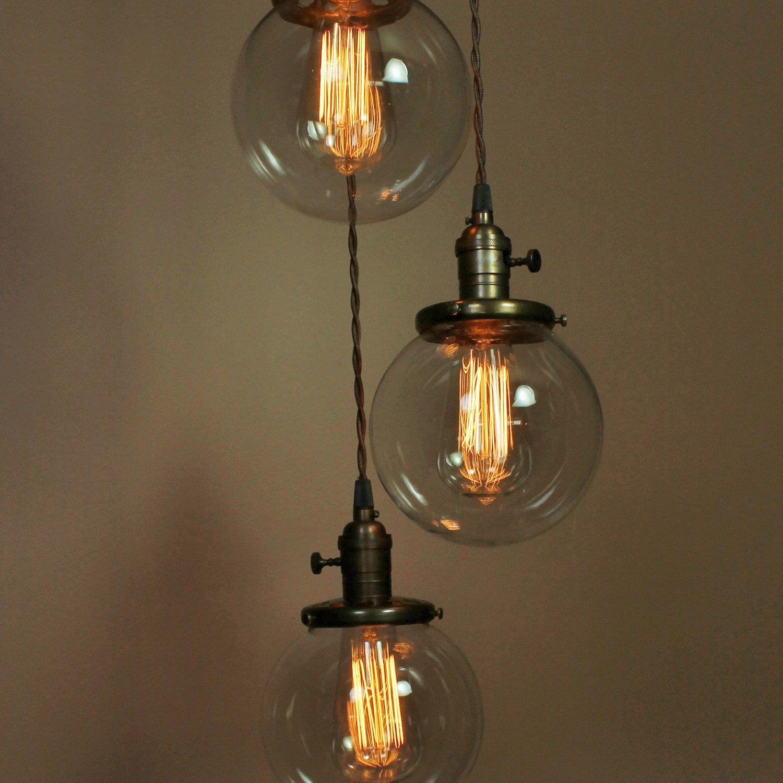 Chandelier Pendant Light Vintage Acorn Glass Globes
