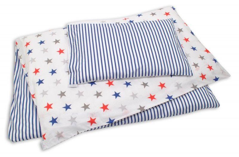 Baby und streifen bettwäsche in maritimen farben weiß blau rot