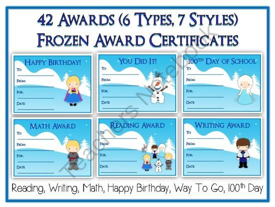 Frozen Award Certificates  Colorful  Fun Rewards   Types