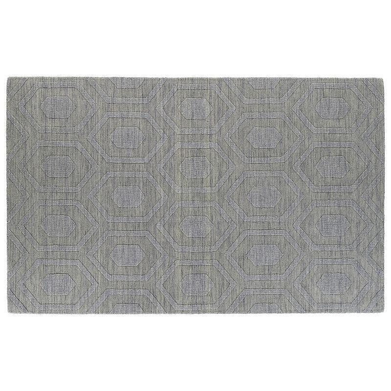 Kaleen Imprints Modern Diamond Geometric Wool Rug, Grey (Charcoal)